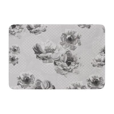 Pellerina Design Lace Peony Floral Memory Foam Bath Rug Color: Gray