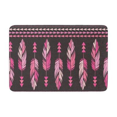 Amanda Lane Painted Feathers Memory Foam Bath Rug Color: Pink/Dark