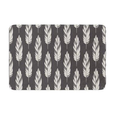 Amanda Lane Feathers Pattern Memory Foam Bath Rug Color: Black/Cream