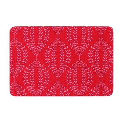 Anneline Sophia Laurel Leaf Floral Memory Foam Bath Rug Color: Red