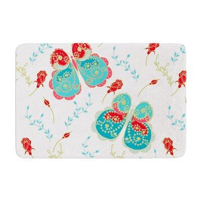 Anneline Sophia Leafy Butterflies Butterfly Memory Foam Bath Rug Color: Red/Aqua