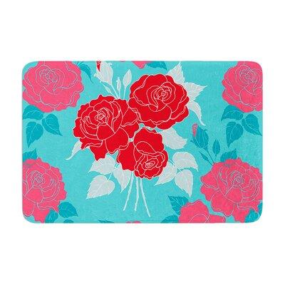 Anneline Sophia Summer Rose Memory Foam Bath Rug Color: Red/Aqua