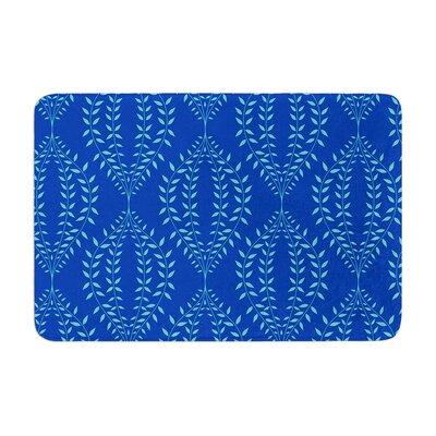 Anneline Sophia Laurel Leaf Floral Memory Foam Bath Rug Color: Blue