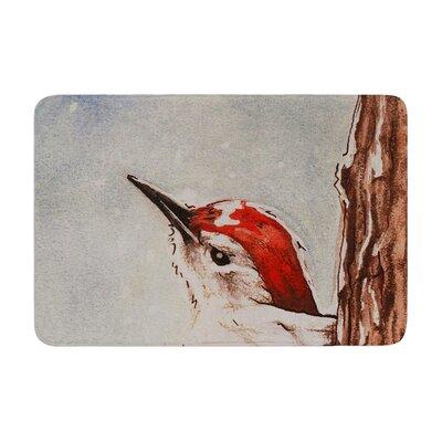 Brittany Guarino Downy Woodpecker Memory Foam Bath Rug