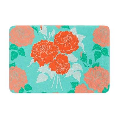 Anneline Sophia Summer Rose Memory Foam Bath Rug Color: Orange/Teal