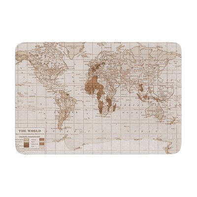 Catherine Holcombe Emerald World Vintage Map Memory Foam Bath Rug