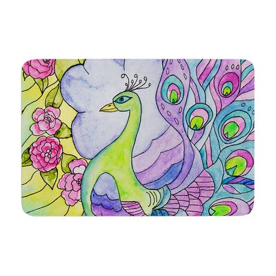 Catherine Holcombe Stained Glass Watercolor Peacock Memory Foam Bath Rug