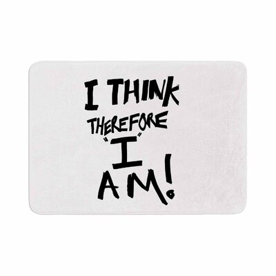 Bruce Stanfield I Think, Therefore I Am Typography Memory Foam Bath Rug