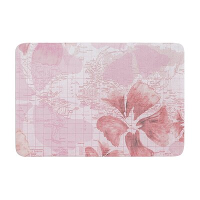 Catherine Holcombe Flower Power Map Memory Foam Bath Rug Color: Pink