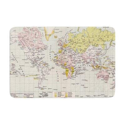 Catherine Holcombe Travel World Map Memory Foam Bath Rug