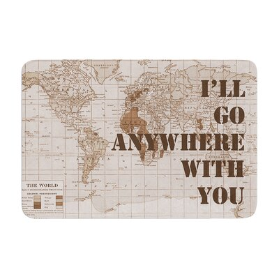 Catherine Holcombe Ill Go Anywhere with You Map Memory Foam Bath Rug