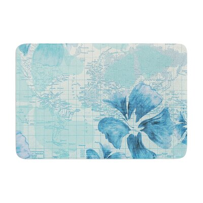 Catherine Holcombe Flower Power Map Memory Foam Bath Rug Color: Aqua