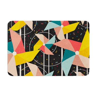 Danny Ivan Colorful Pinwheels Abstract Memory Foam Bath Rug