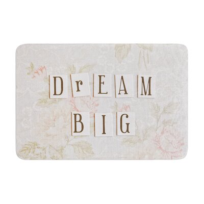 Debbra Obertanec Dream Big Quote Floral Memory Foam Bath Rug