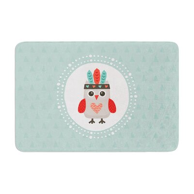 Daisy Beatrice Hipster Owlet Coral Memory Foam Bath Rug