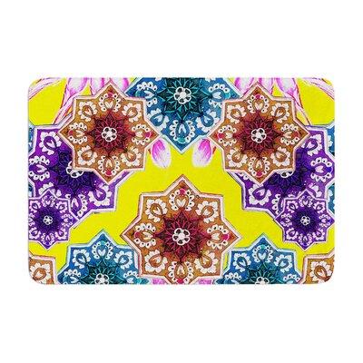 Fernanda Sternieri Flower Power Magenta Floral Memory Foam Bath Rug Color: Yellow