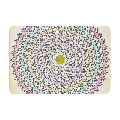 Famenxt Leafy Watercolor Mandala Abstract Memory Foam� Bath Rug