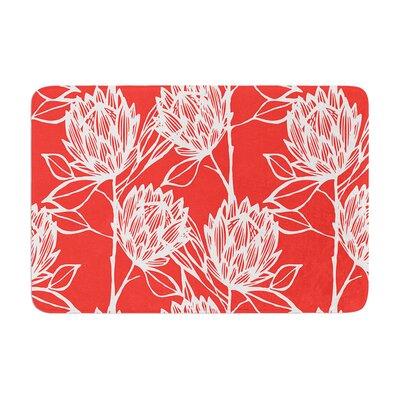 Gill Eggleston Protea Jade Flowers Memory Foam Bath Rug Color: Strawberry