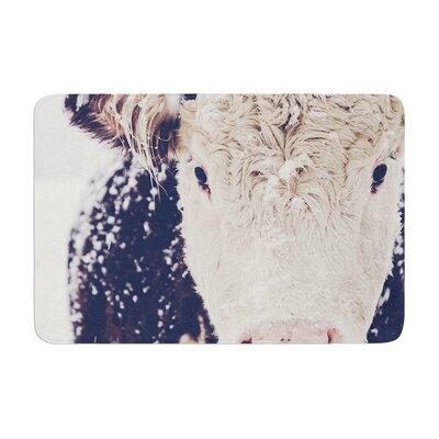 Debbra Obertanec Snowy Cow Memory Foam Bath Rug
