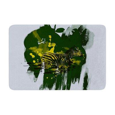 Frederic Levy Hadida Watercolored Zebra Memory Foam Bath Rug Color: Green