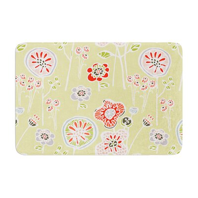 Gill Eggleston Folky Floral Lemon Memory Foam Bath Rug Color: Green/Yellow