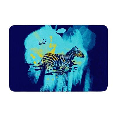 Frederic Levy Hadida Watercolored Zebra Memory Foam Bath Rug Color: Blue
