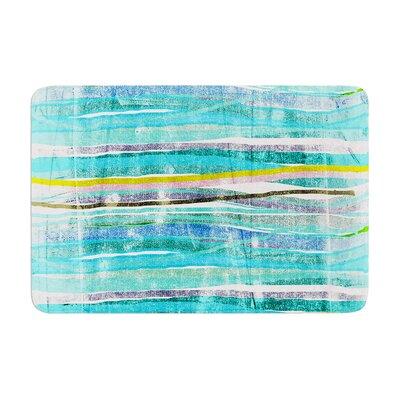 Frederic Levy Hadida Fancy Stripes Acqua Memory Foam Bath Rug Color: Aqua