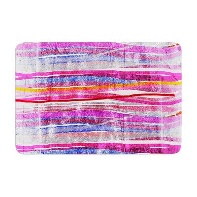Frederic Levy Hadida Fancy Stripes Acqua Memory Foam Bath Rug Color: Pink