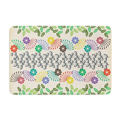 Famenxt Flowers and Leaves Pattern Abstract Geometric Memory Foam Bath Rug