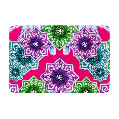 Fernanda Sternieri Flower Power Magenta Floral Memory Foam Bath Rug Color: Magenta