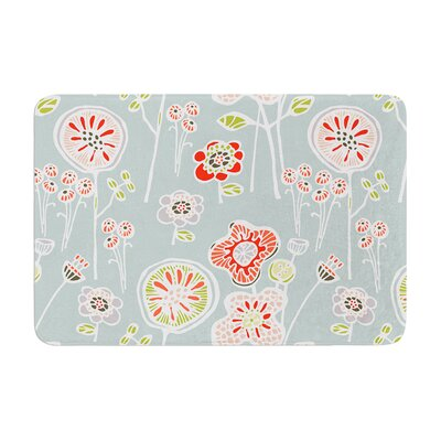 Gill Eggleston Folky Floral Lemon Memory Foam Bath Rug Color: Blue Teal