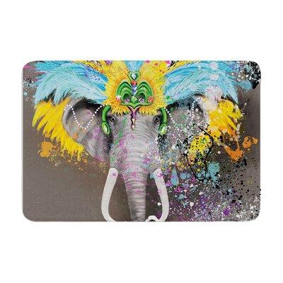 Geordanna Cordero Fields My Elephant with Headdress Memory Foam Bath Rug