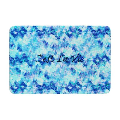 Ebi Emporium Cest La Vie Revisited Memory Foam Bath Rug Color: Blue Aqua, Size: 17 W x 24 L