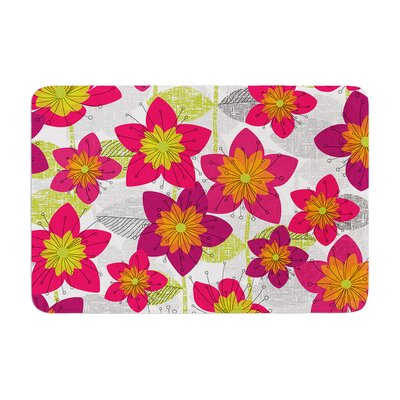 Jacqueline Milton Star Flower Floral Memory Foam Bath Rug