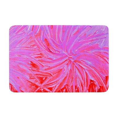 Ebi Emporium Water Flowers Crimson Lilac Memory Foam Bath Rug