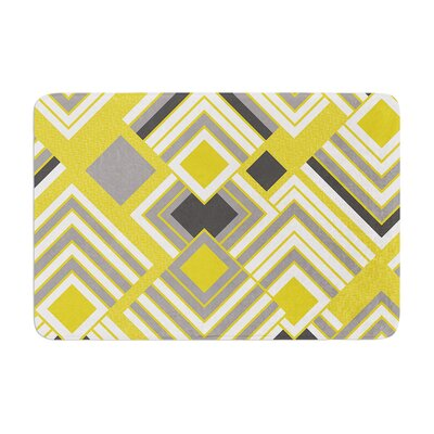 Jacqueline Milton Luca Coffee Memory Foam Bath Rug Color: Yellow/Gray