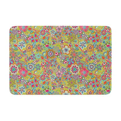 Julia Grifol My Butterflies and Flowers Floral Memory Foam Bath Rug Color: Green