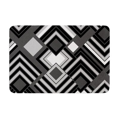 Jacqueline Milton Luca Coffee Memory Foam Bath Rug Color: Black/White