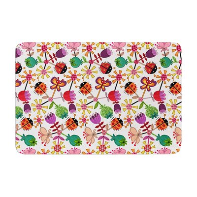 Jane Smith Garden Floral Plants Bugs Memory Foam Bath Rug