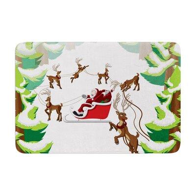 Forest Sleigh Scene Holiday Illustration Memory Foam Bath Rug