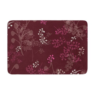 Laurie Baars Ferns Vines Bordeaux Floral Memory Foam Bath Rug