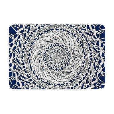 Patternmuse Mandala Spin Memory Foam Bath Rug Color: Navy/White