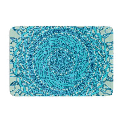 Patternmuse Mandala Spin Memory Foam Bath Rug Color: Mint/Blue