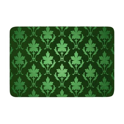 Emerald Damask Pattern Memory Foam Bath Rug