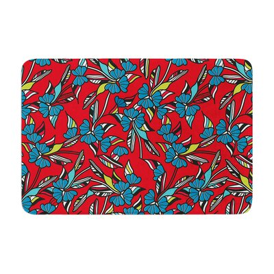 Michelle Drew Paper Leaf Memory Foam Bath Rug Color: Red
