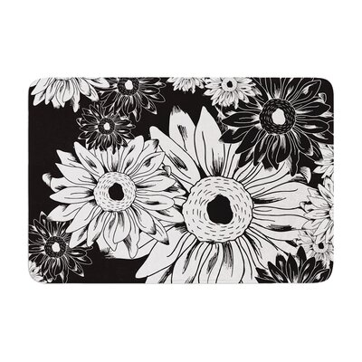 Laura Escalante Midnight Florals Sunflower Memory Foam Bath Rug