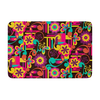 Louise Machado Arabesque Floral Bright Colorful Memory Foam Bath Rug