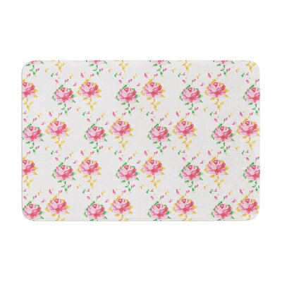 Laura Escalante Cross Stitch Flowers Memory Foam Bath Rug