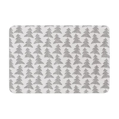 Michelle Drew Herringbone Forest Memory Foam Bath Rug Color: Black