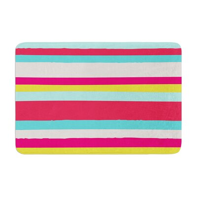 Nika Martinez Girly Surf Stripes Memory Foam Bath Rug